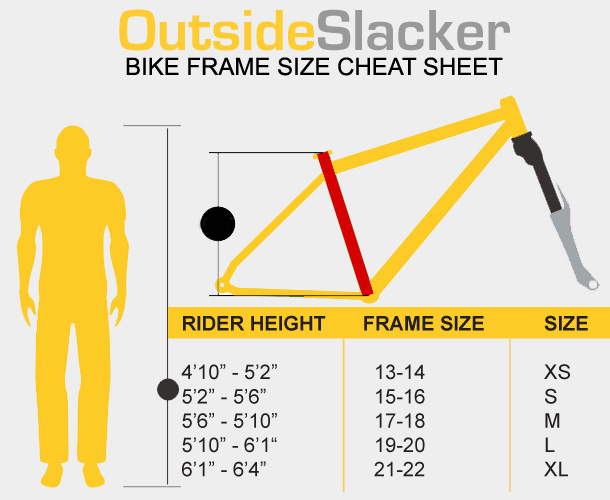 bike frame size cheat sheet outsideslacker
