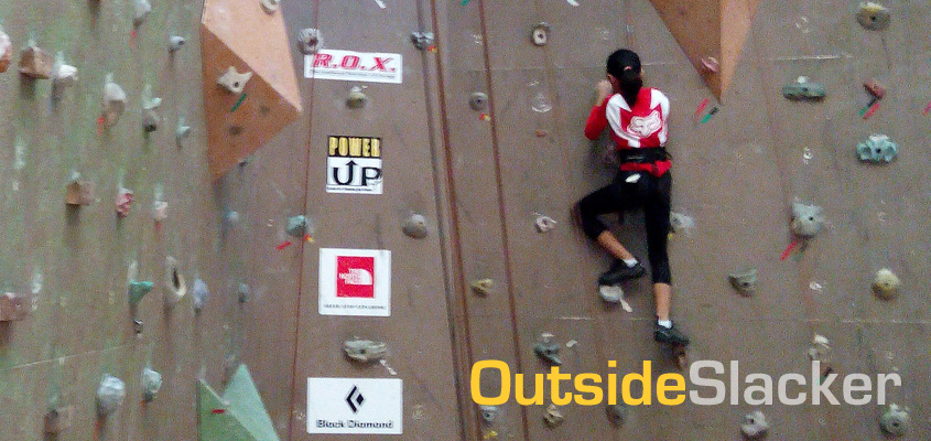 Young girl climbing at Power Up ROX